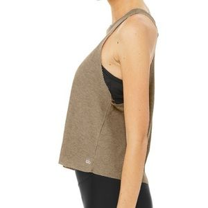 Alo Flow Tank Thermal Crop Top Gravel Waffle Knit